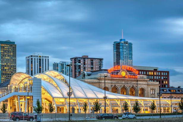 Denver's Union Station, Nighttime Exterior