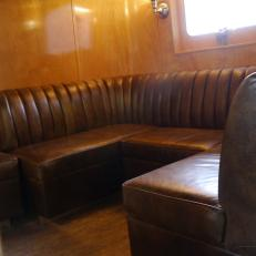 Leather Sofa Rollaway in Vintage RV