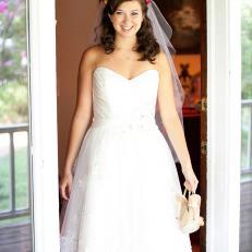 Beautiful Bride in Tea-Length Gown