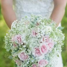 Summer Wedding Bouquet of Baby's Breath and Light Pink Flowers