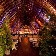 Tennessee Wedding Venue With Evergreens and Light Strands for Winter Perfect Style