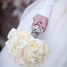 Winter White Bridal Bouquet With Antique Brooch Attachment