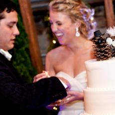 Kristen and David Wilson DIY Pinecone Wedding Cake Topper