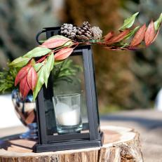 Wood Riser and Candle Holder Lantern for Winter Wedding Centerpiece