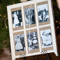Black and White Wedding Photos Display on Burlap Background in Country Window Pane