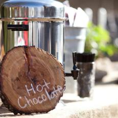 Cut Wood Plate With White Writing for Wedding Hot Chocolate Set Up