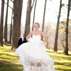 Bride Kristen Wilson Showing Off Wedding Day Rain Boots in Outdoor Photograph