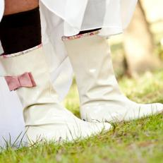 Cream Rain Boots With Pink Bow For Winter Wedding Day Shoes