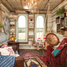The Junk Gypsies used furniture and funky design pieces to turn a treehouse into a guesthouse.