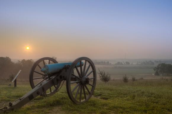 Gettysbug, Pennsylvania Cannon at Sunrise