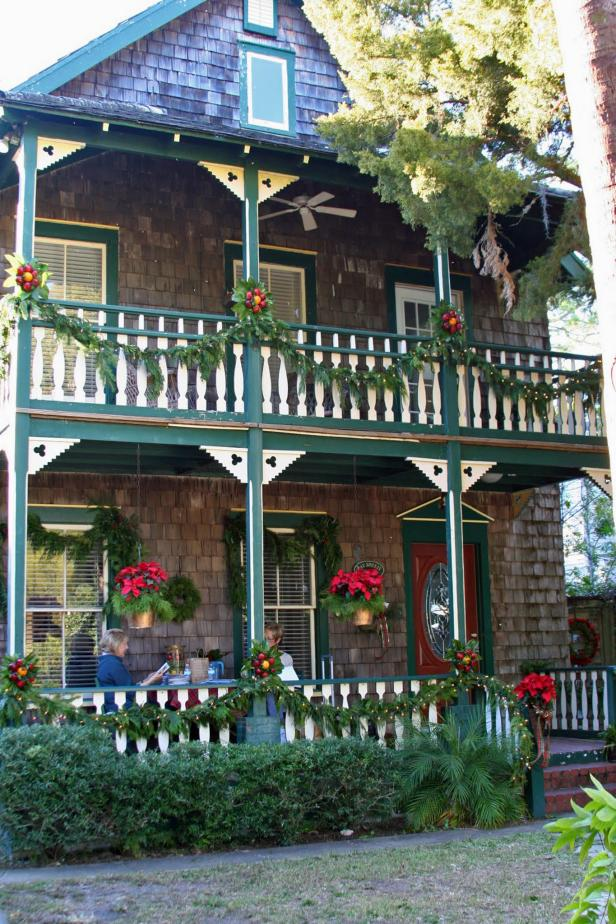 Double Porches Decorated for Christmas in St. Augustine, Florida